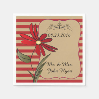 Red and Tan Stripe Floral Paper Napkin