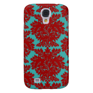 red and teal aqua bold intricate damask