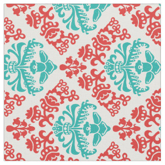 Red and Teal Damask Fabric