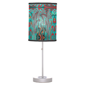 Red and Turquoise Abstract Table Lamp