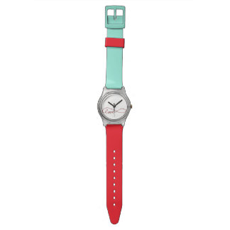 Red and Turquoise Watch with Love Infinity Symbol