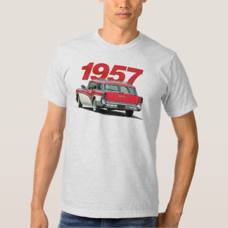 Red and white 1957 Buick station wagon t-shirt