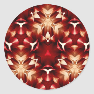 Red And White Abstract Design Round Sticker