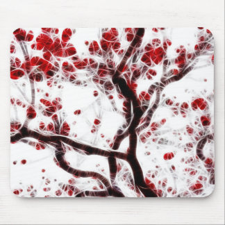 Red and White Abstract Mouse Mat