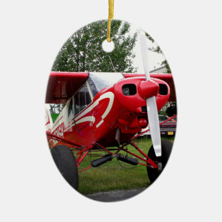 Red and white aircraft, Alaska Ceramic Ornament