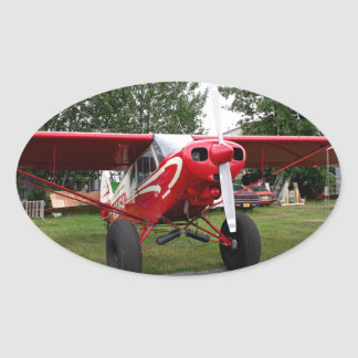 Red and white aircraft, Alaska Oval Sticker