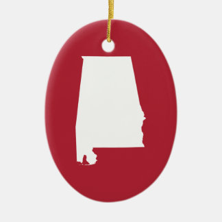 Red and White Alabama Ceramic Oval Ornament
