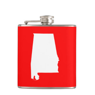 Red and White Alabama Hip Flask