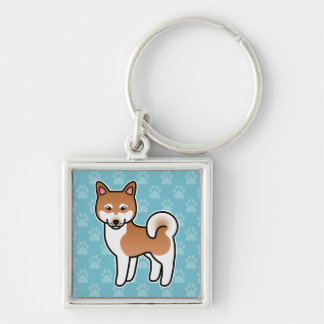Red And White Alaskan Klee Kai Cartoon Dog Silver-Colored Square Keychain