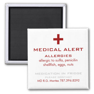 Red and White Allergies Medical Alert Magnet