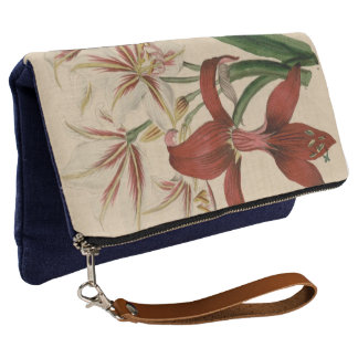 Red and White Amaryllis Flower Clutch