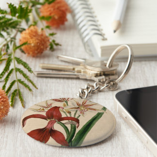 Red and White Amaryllis Flower Keychain