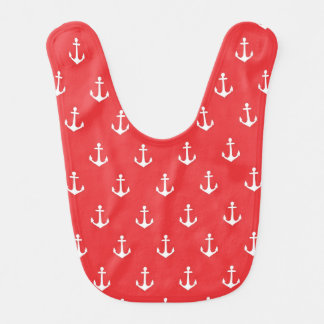 Red and White Anchor Baby Bib