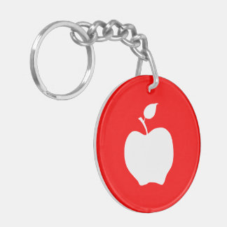 Red and White Apple Keychain