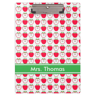 Red and White Apple Personalized Clipboard