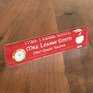 Red and White Apple Teacher Name Plate