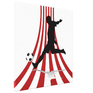 Red and White arcs Soccer player design Canvas Print