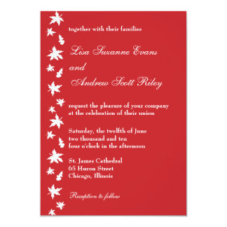 Red and White Autumn Leaf Wedding Invitation