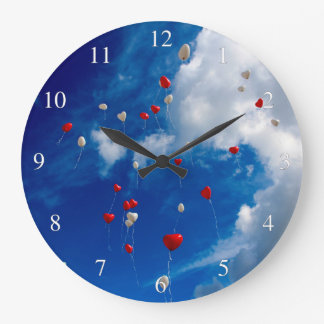 Red And White Balloons In The Sky Wallclocks