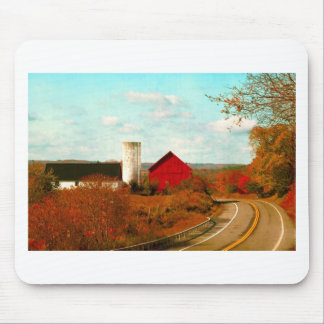 Red and White Barns in Fall Mouse Pad