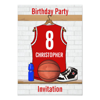 "Red and White Basketball Jersey Birthday Party 5"" X 7"" Invitation Card"