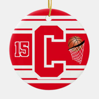 Red and White Basketball Letter C Ceramic Ornament