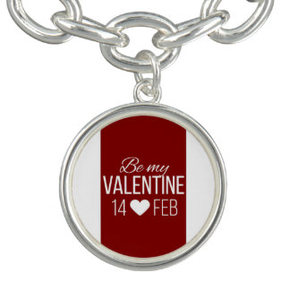 Red And White Be My Valentine Heart Charm Bracelets