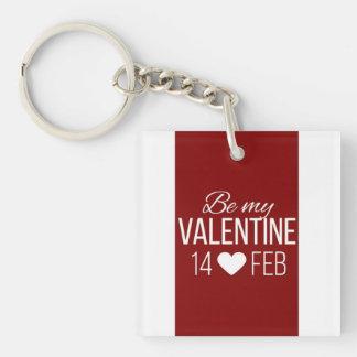 Red And White Be My Valentine Heart Keychain