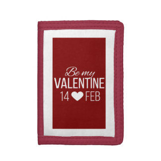 Red And White Be My Valentine Heart Tri-fold Wallets