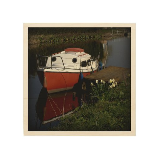 Red and white boat wood canvas