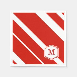 Red and White Bold Stripes Monogram Napkin Paper Napkins