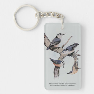 Red and White-breasted Nuthatches Single-Sided Rectangular Acrylic Keychain