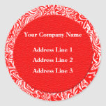 Red and White Business Address Labels Round Sticker
