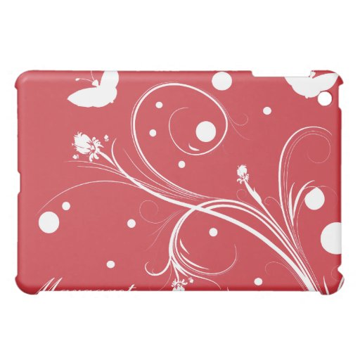Red and White Butterflies and Flowers iPad Mini Covers