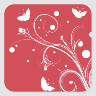 Red and White Butterflies and Flowers Square Sticker