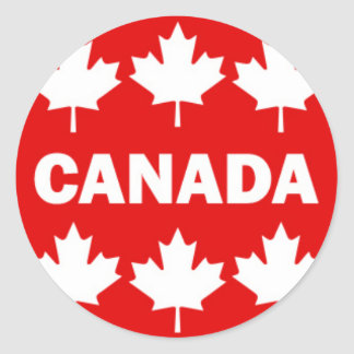 Red and White Canada Text with Maple Leafs Round Sticker