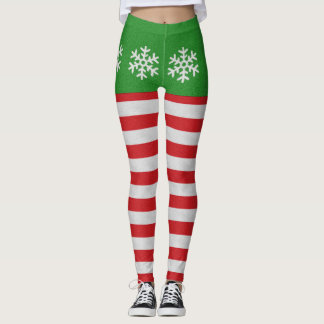 Red And White Candy Cane Snowflake Leggings