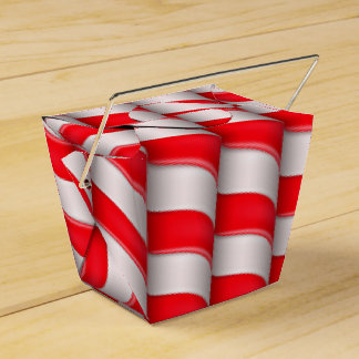 Red and White Candy Cane Stripes Favor Box