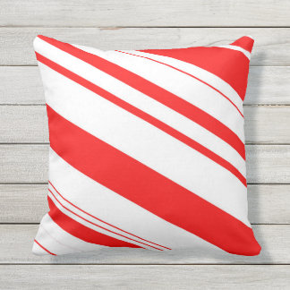 Red and White Candy Cane Stripes Throw Pillow