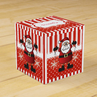 Red and White Candy Stripes and Santa Claus Favor Box