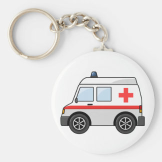 Red and White Cartoon Ambulance Keychain