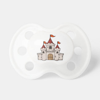 Red and White Cartoon Medieval Castle with Flags Pacifier