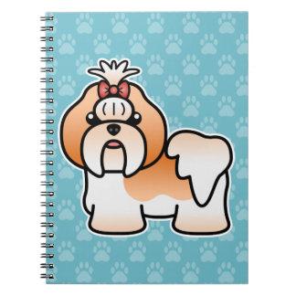 Red And White Cartoon Shih Tzu Dog Notebooks