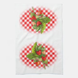 Red and White Checked Gingham and Strawberries Kitchen Towel
