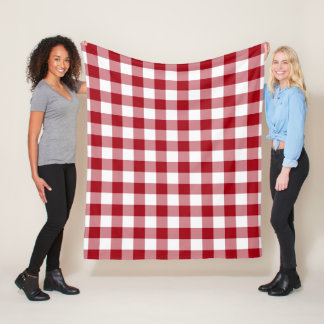 Red And White Checked Gingham Pattern Fleece Blanket