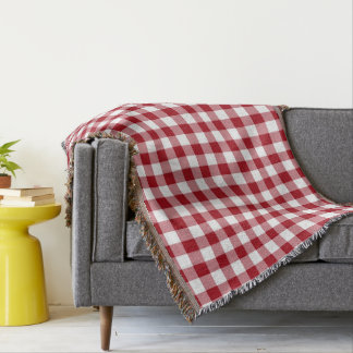 Red And White Checked Gingham Pattern Throw Blanket