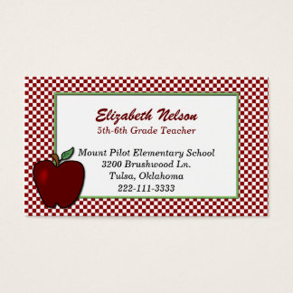 Red and White Checked Teacher's business card