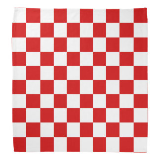 Red and White Checker Pattern Bandana