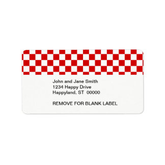 Red and White Checker Pattern Label