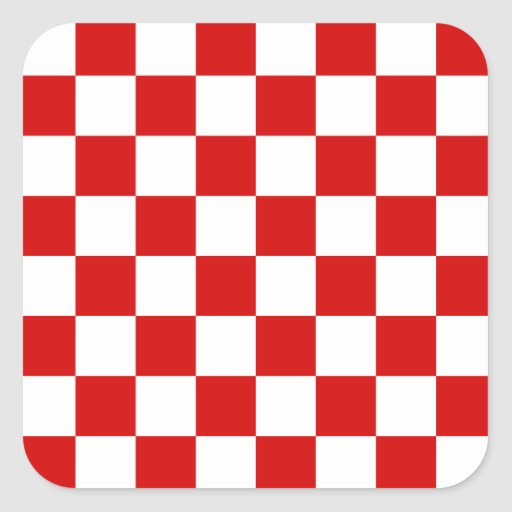Red and White Checker Pattern Square Sticker